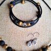 Schmuckset Tigerauge Lava Kette Armband Ohrringe