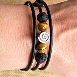 Wickelarmband Armband Armreif Tigerauge Lava
