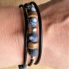 Wickelarmband Armband -armreif Achat Spinnennetzachat Kokosnuss Holz Perlen