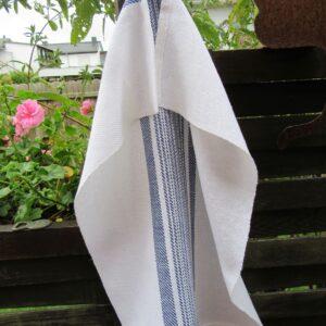 Handgewebtes Handtuch weiß-dunkelblau