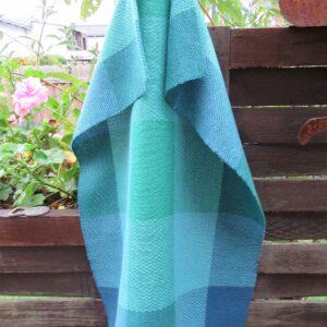 Handgewebtes Handtuch mit Karos,blaugrün
