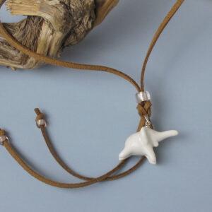 Porzellananhänger Elefant mit Lederband