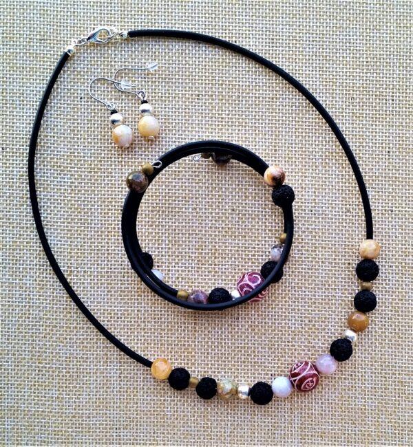 Schmuckset Kette Armband Wickelarmband Ohrhänger Jade Achat Lava