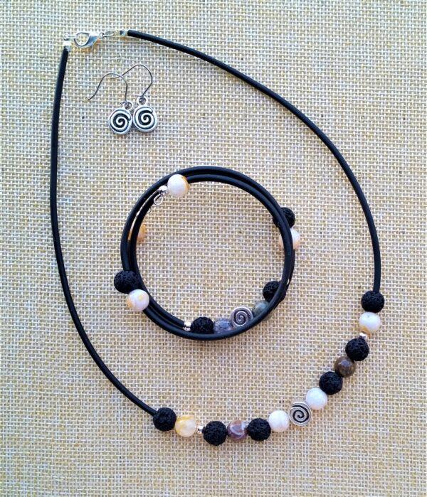 Schmuckset Kette Armband Wickelarmband Ohrhänger JSpirale Achat Lav