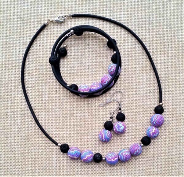 Schmuckset Kette Wickelarmband und Ohrhänger Lava Kunststoffperlen