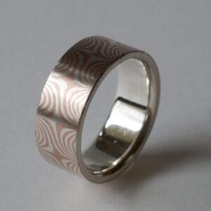 Mokume Gane Ring mit 11 Sternen, Silber-Kupfer