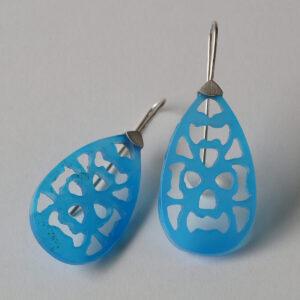 Ohrschmuck mit blauen Achattropfen - Mandalas