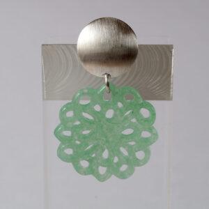 Ohrstecker 925 Silber mit einem grünem Achat - Mandala