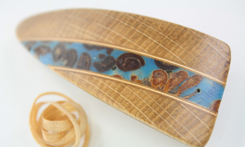 Holzkunst Haarspange