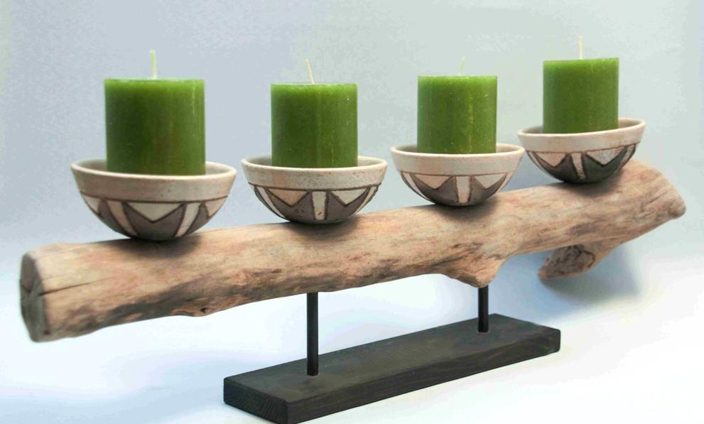 Holzkunst Treibholz Kerzenleuchter