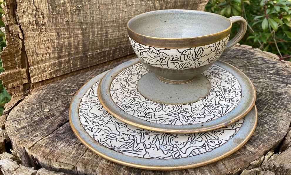 Kunsthandwerk: Kaffeetasse Nackte Keramik