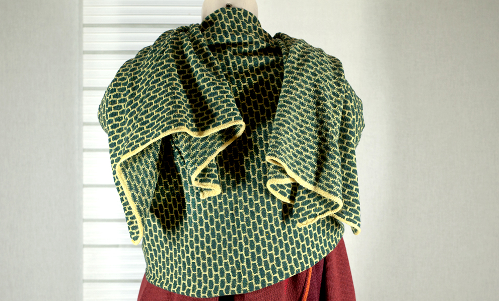 Kaschmir Schals Wabenmuster gelb grün