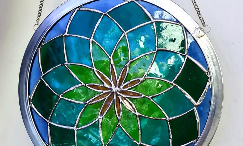 Tiffany Glaskunst Mandala blau