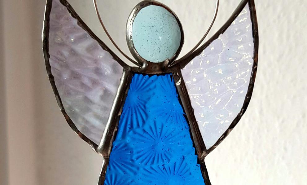 tiffany Glaskunst Schutzengel blau
