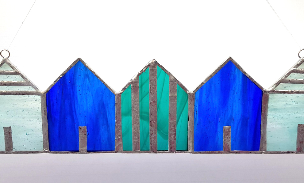 Tiffany Glaskunst Strandhäuser blau